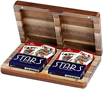 Juego Noce - Estuche de cartas de madera I Juego de cartas poker - Marrón , color/modelo surtido: Amazon.es: Juguetes y juegos