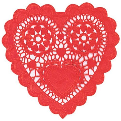 Valentines Heart Shaped Red Paper Doilies 10in