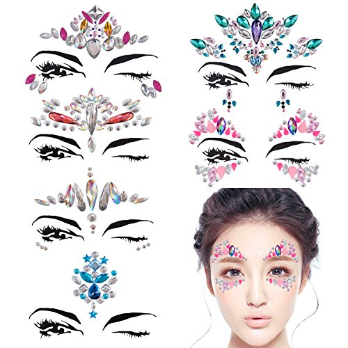 DaLin 6 Sets Mermaid Face Gems Rave Festival Face Jewels Stick On Crystals Bindi Rainbow Tears Rhinestone Temporary Tattoo Stickers Face Rocks (Collection 3)