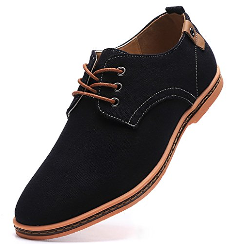 DADAWEN Men's Casual Canvas Lace Up Oxfords Shoes Black US Size 9.5