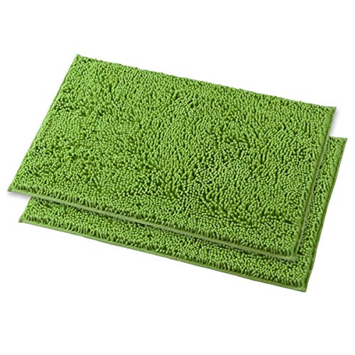 MAYSHINE Non-Slip Bathroom Rugs Machine-Washable Bath Mats with Water Absorbent Soft Microfibers - 2 Piece 20x32 Inches Green