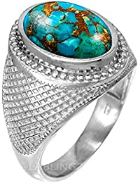Sterling Silver Blue Copper Turquoise Gemstone Statement Ring