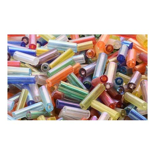 Packet 2200+ Mixed Glass Circa 5-20mm x 2mm AB Bugle Seed Beads Y12715 (Charming Beads)
