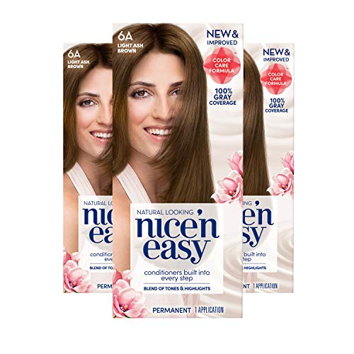 Clairol Nice 'n Easy Permanent Hair Color, 6A Light Ash Brown, Pack of 3