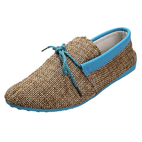 Other-seyMen Shoes Canvas Lace-up Peas Shoes Driving Shoe Breathable Non-Slip Lazy Platform Sneaker Sneaker Laces Blue