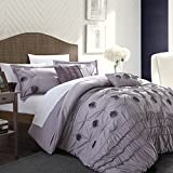 Chic Home 5-Piece Florentina Floral Pleated Comforter Set, Queen, Plum