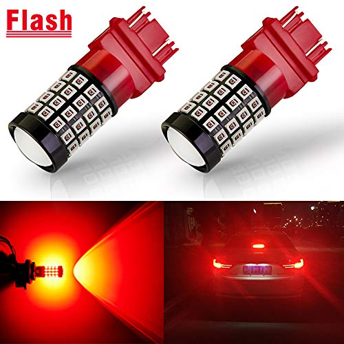 ANTLINE Newest 3157 LED Bulb Flash Strobe Red (2 Pack), 9-30V Super Bright 1600 Lumens 3156 3057 3056 4057 4157 52-SMD LED with Projector for Replacement, Flashing Strobe Brake Tail Stop Light Bulbs