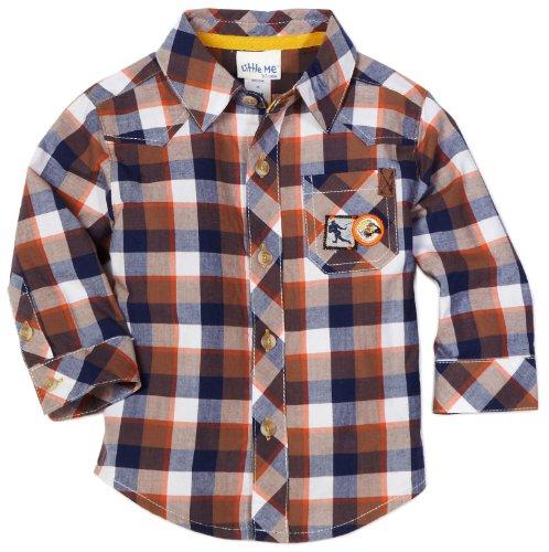 Little Me Plaid Dress Shirt - Little Me Baby Boys' Woven Quarterback Shirt, Plaid, 24 Months