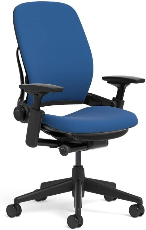 Steelcase Leap Ergonomic Office Chair with Flexible Back | Adjustable Lumbar, Seat, and Arms | Black Frame and Buzz2 Blue Fabric