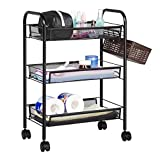 LANGRIA All Purpose Shelving 3 Tier Mesh Serving Kitchen Rolling Trolley with 5 Side Hooks Multifunctional Basket Utility Storage Cart Max Load Capacity 20kg Suitable for Home Office (Black)