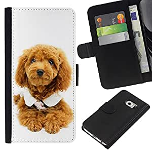 JackGot ( Cute Puppy Dog Poodle ) Samsung Galaxy S6 EDGE (NOT S6) la tarjeta de Crédito Slots PU Funda de cuero Monedero caso cubierta de piel