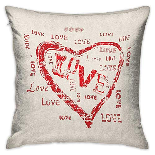 (Love Square Body Pillowcase Retro Heart Pattern with Love Calligraphy Passionate Emotions Romantic Pattern Beige Vermilion Cushion Cases Pillowcases for Sofa Bedroom Car W17.7 x L17.7)