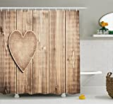 Best Wooden Hearts love Friend Items For Girls - Ambesonne Valantines Day Shower Curtain, Rustic Heart Over Review