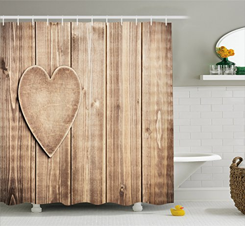 Ambesonne Valantines Day Shower Curtain by, Rustic Heart over Wooden Planks Background Corner Romantic Valentine's Celebration, Fabric Bathroom Decor Set with Hooks, 70 Inches, Tan