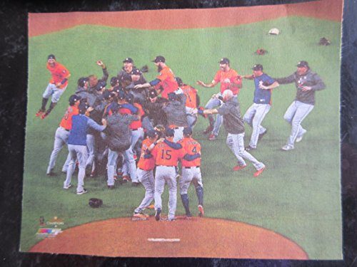 THE HOUSTON ASTROS CELEBRATE ON FIELD THEIR 2017 WORLD SERIES CHAMPIONSHIP PHOTO MOUNTED WITH PLASTIC COVER ON A
