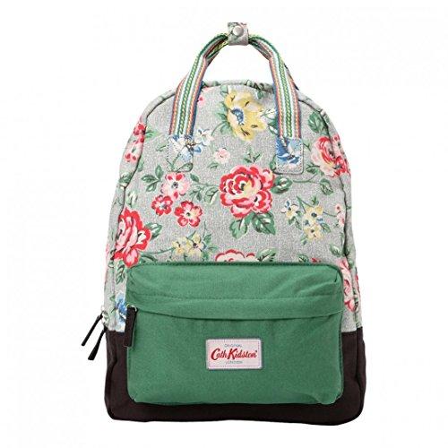 - Cath Kidston Small Cotton Backpack Rucksack Rainbow Rose Grey & Navy