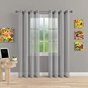 "Grommet Semi Sheer Luxury 2 Panels Total Wide 108"" (Each Curtain 54""Wx84""L) Window Home Decor and Upscale Design Light Penetrating & Privacy Soft Durable Polyester Easy Upkeep (Morning Gray)"