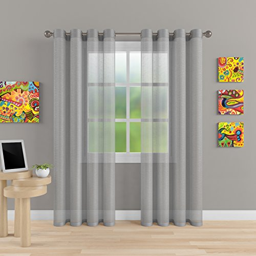 "Design Window Panel (Grommet Semi Sheer Luxury 2 Panels Total Width 108"" (Each Curtain 54""W x 120""L) Window Home Decor and Upscale Design Light Penetrating & Privacy SoftDurable Polyester Easy Upk. Morning Gray)"