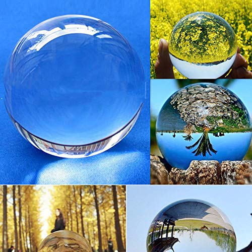 (NszzJixo9 Clear Glass Crystal Ball - Healing Sphere Photography Props for Feng Shui/Divination or Wedding/Home/Office Decoration, Crystal Sphere Ball, Decor Photography Ball (A))
