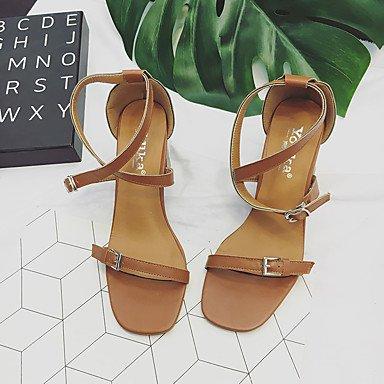 LvYuan Mujer Sandalias Confort PU Verano Casual Vestido Paseo Confort Hebilla Tacón Robusto Beige Marrón Claro 2'5 - 4'5 cms light brown