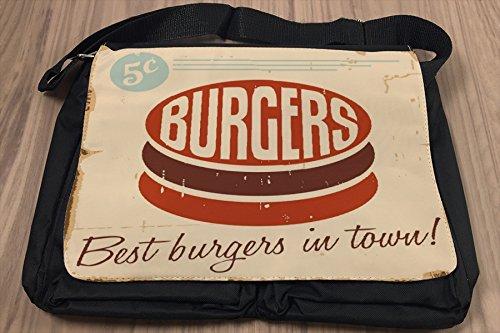 Borsa Tracolla Nostalgico Divertimento Hamburger Stampato