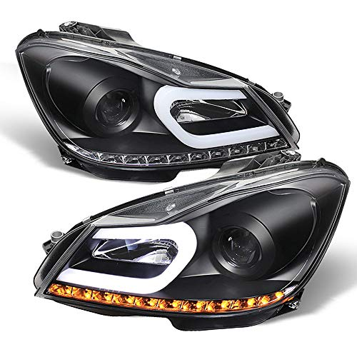 ACANII - For [Halogen Model] 2012-2014 Mercedes Benz W204 C-Class LED Signal DRL Black Projector Headlights Headlamps