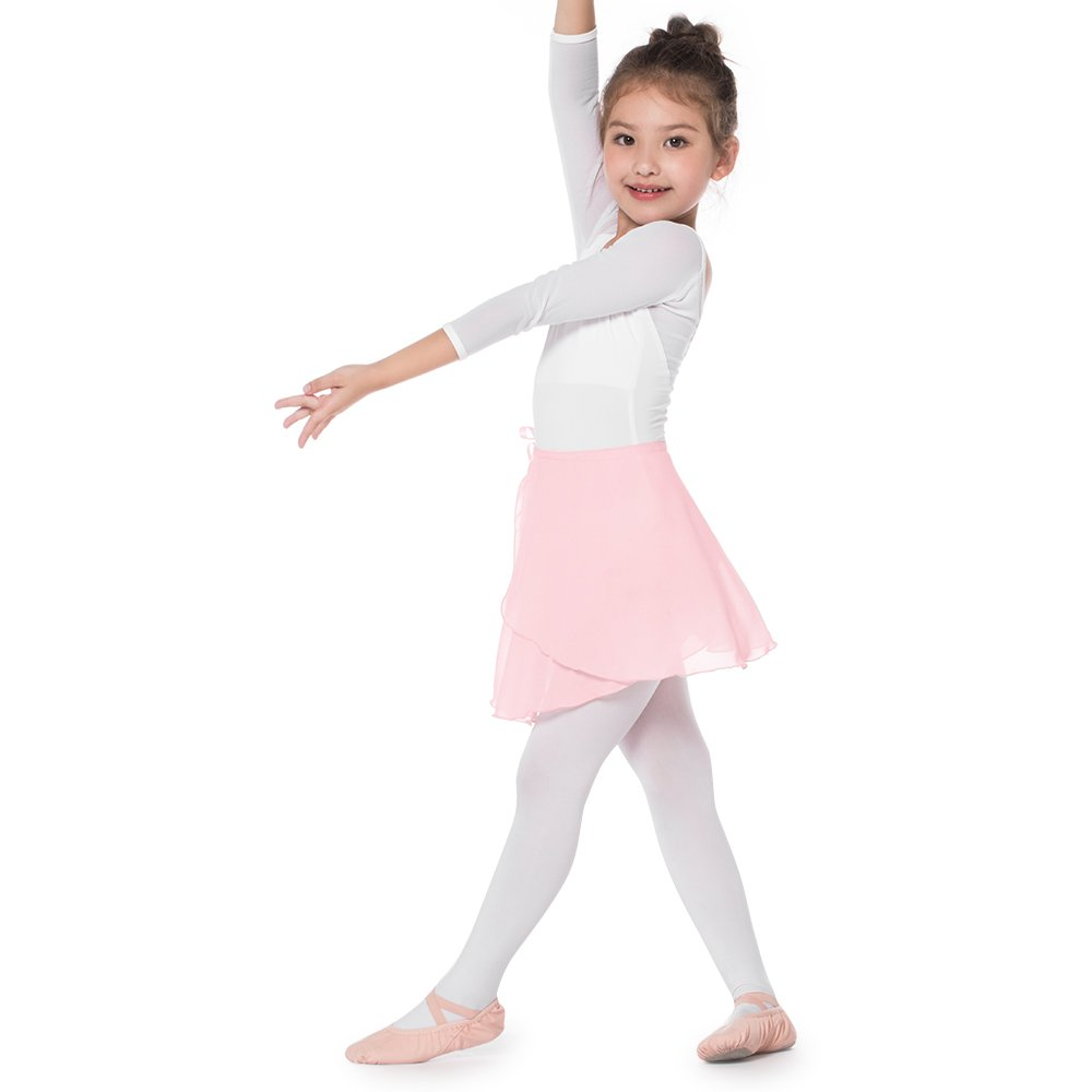 Bezioner Girls Ballet Skirt Chiffon Tutu Wrap Skirt Ballet Dancewear White Pink Black