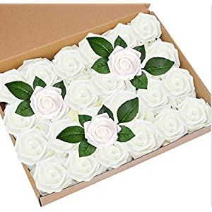 Awtlife 50 pcs Artificial Flower Rose and 15 Artificial Leaf for DIY Bouquets Wedding Party Baby Shower Home Decor 115