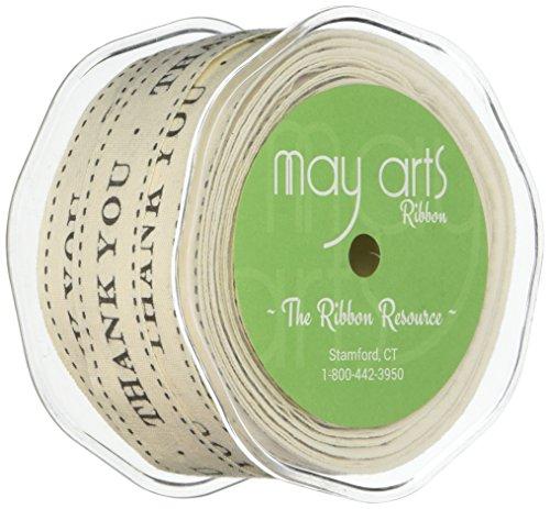 May Arts Ivory Print Ribbon, 0.75-Inch by 30-Yard, Thank You