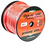 DEEJAY LED 4 Gauge Pure Copper Interconnect Cable, 100', Red - TBH4100REDCOPPER