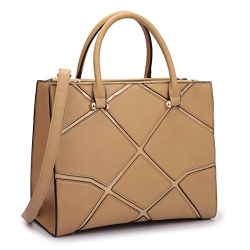 Women Handbags Satchel Purse Top Handle Shoulder Bags Work Tote with Geometric Trim