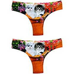 Acquadicocco Sexy Women's Brazilian Thongs G-String Panties Underwear Pussycat, Pack of 4, Large.