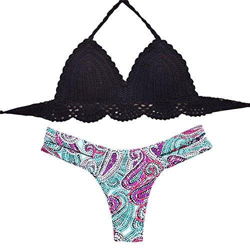 Uskincare Traje de Baño Mujer Tejido de Punto Bikini Bañador Bajo la Cintura Playa Mar Verano 4-Multicolor
