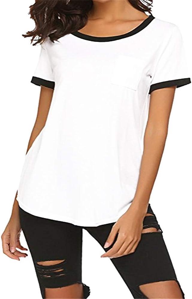 Kangcheng Mujeres Verano Algodón Sport Tops Casual Manga Corta Camiseta Camisas Básicas Camisetas Básicas: Amazon.es: Ropa y accesorios