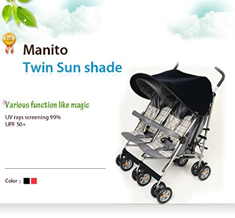 Wide Sunblock and Car Seat Black New Twin Sunshade // Sunshade for Twin Baby stroller UV Cut Pushchair Universal and easy installing Manito