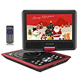 "Portable DVD Players, 11"" Multimedia Video Player with 9.5"" Swivel Flip Screen, 5 Hours Rechargeable Battery, Supports USB/SD Card/Games/Sync To TV, Perfect Gift for Kids and Car Travel, Red"