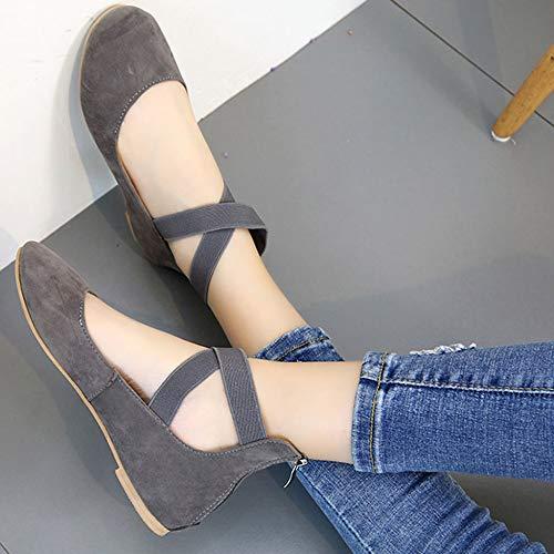 Regbking Pour Chaussures Croisées Élastiques Bretelles Classiques À Femmes Ballerines Grey rq6WEwIr