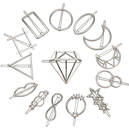 Jaciya 14pcs Minimalist Dainty Hair Clips Silver Hollow Geometric Alloy Hairpin Hair Clamps,Circle,Triangle and Moon Multiple Pattern (Silver)