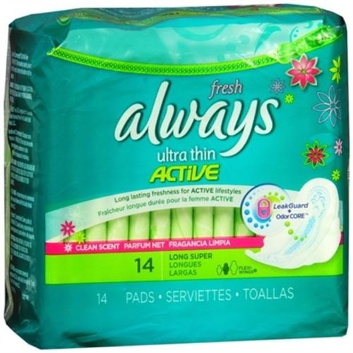 - Always Pads Long/Super with Wings, Scented - 14 ct