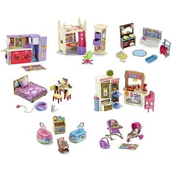 Elegant Fisher Price Loving Family Dollhouse Furniture ~ Lot Of 7 Sets