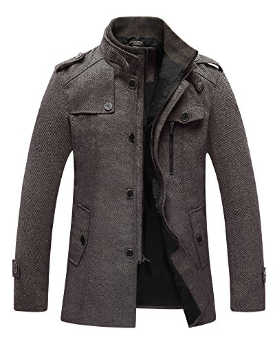 Wantdo Men's Pea Coat Stand Collar Windproof Wool Jacket Overcoat Coffee Large