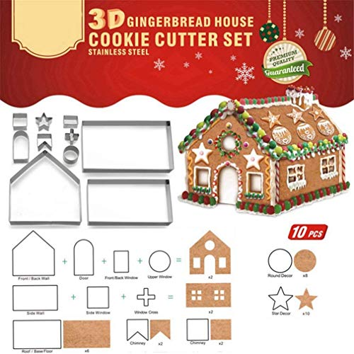 3D Christmas Gingerbread House Stainless Steel Cookie Cutters Festive Xmas Biscuit Pastry Fondant Cake Decorating Mold Set Chocolate House, Haunted House,Gift Box Packaging (Gingerbread)