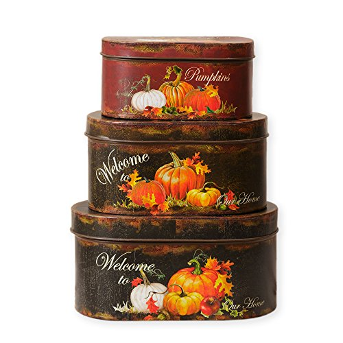Welcome to Our Home Harvest Pumpkins Oval Nesting Tins 3 Piece (Nesting Tins)