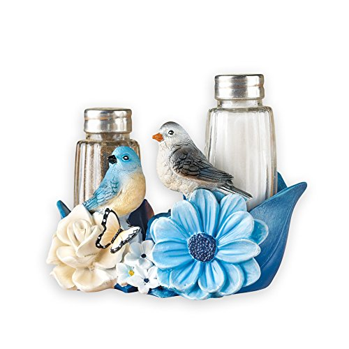 Blue Bird Flower Garden Decorative Kitchen Salt & Pepper (Bird Magnet Set)