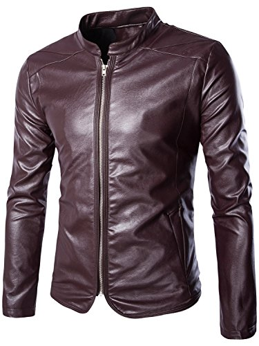 Neleus Men's Classic Leather Motorcycle Jacket,0223,Burgundy & Red,M+,Asia 3XL