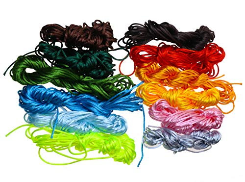 (Mini Skater 131 Yard 12 Color Satin Nylon Trim Cord 2mm Thickness Rattail Silk Cord Beading String for Necklace, Bracelet, Jewelry Making,12 Bundles)