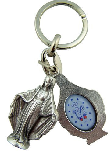 Travel Protection Miraculous Medal Our of Lady Grace 1 1/2 Inch Silver Tone Sliding Keychain
