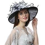 Janey&Rubbins Women's Elegant Organza Wide Brim Hat for Church, Wedding, Paryt, Derby Day (603-White/Black)
