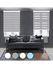 """Zebra Blackout Roller Blinds, Dual Layer Shades, Sheer or Privacy Light Control, Custom Cut to Size, Day and Night Window Drapes,Blinds for Office,Bedroom,Kitchen.Light Gray,32"""" W x 36"""" H"""