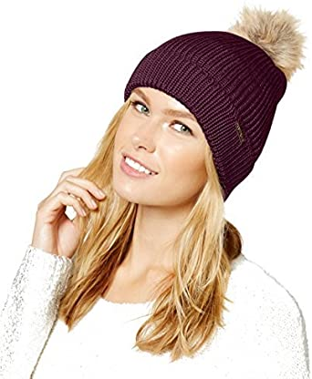 Rampage Womens Chunky Color Block Pom Knit Beanie
